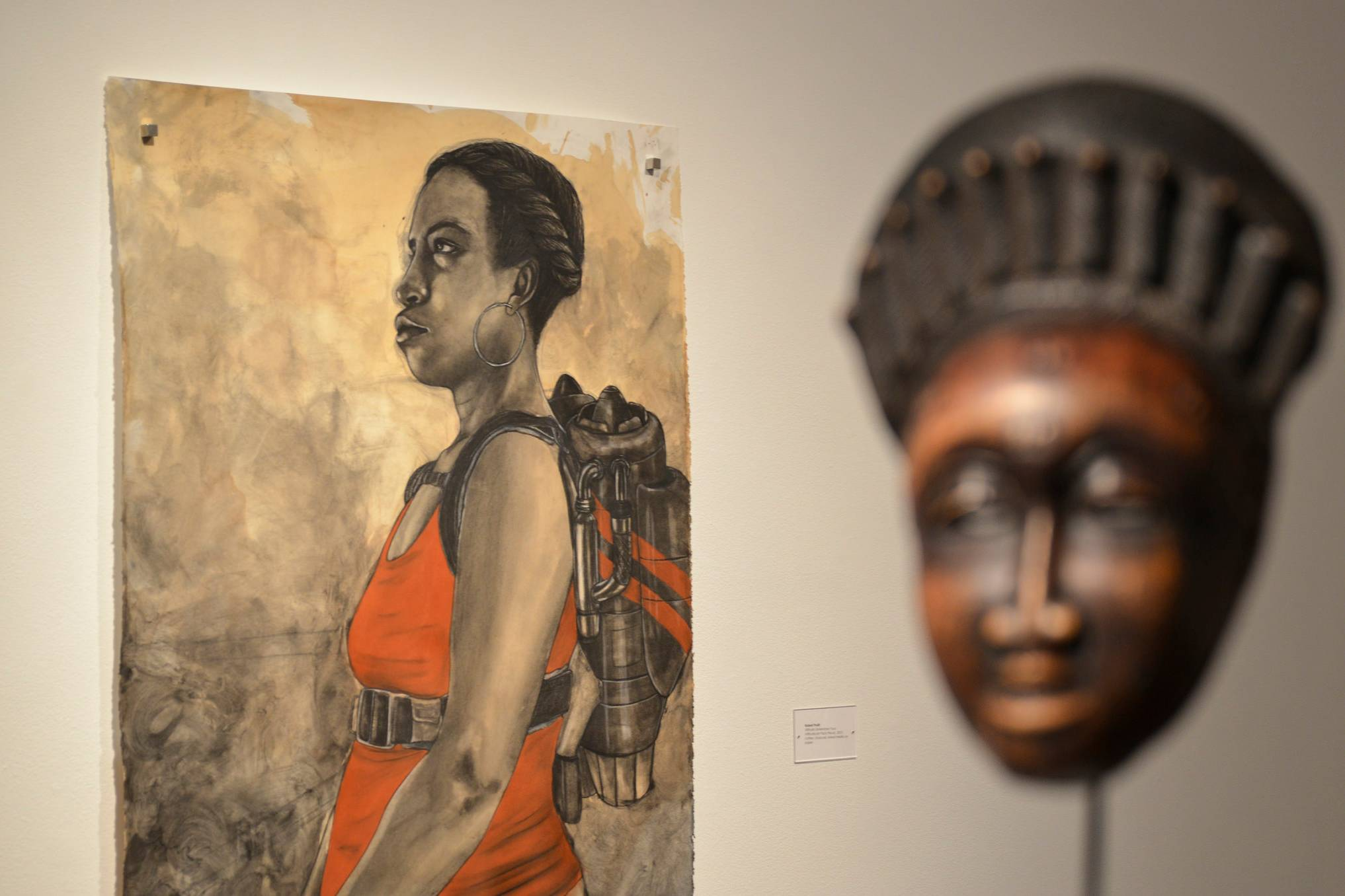 An exhibit of work from African American artists and their connection to African Art opened Feb. 9 during a reception and artist lecture as part of the Black History Month activities at San Diego Mesa College.
