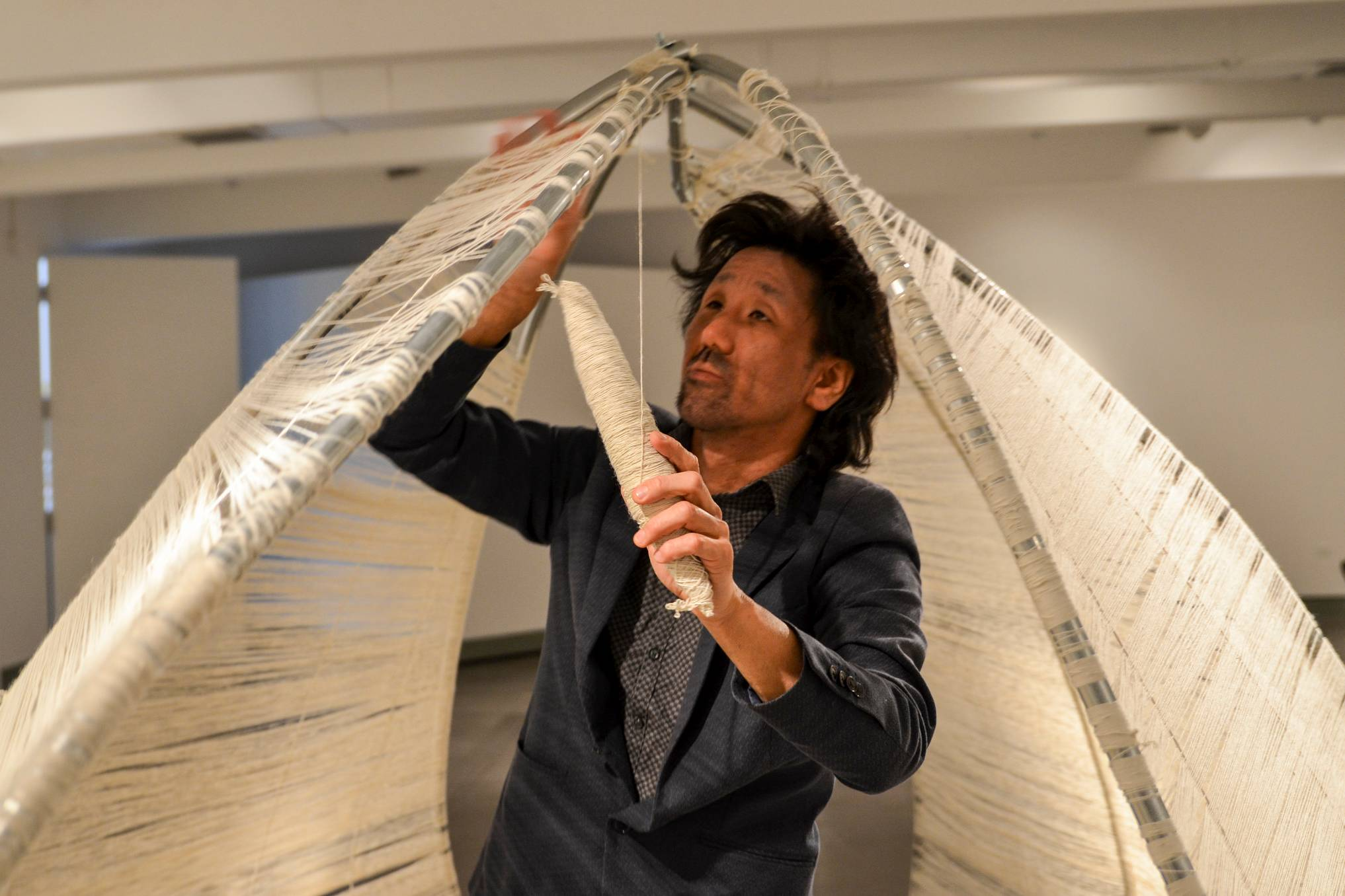 International artist Shinpei Takeda is an artist in residence at San Diego Mesa College this month as he works on his installation and performing art piece 'Fobia' in the Art Gallery, located in D-101.