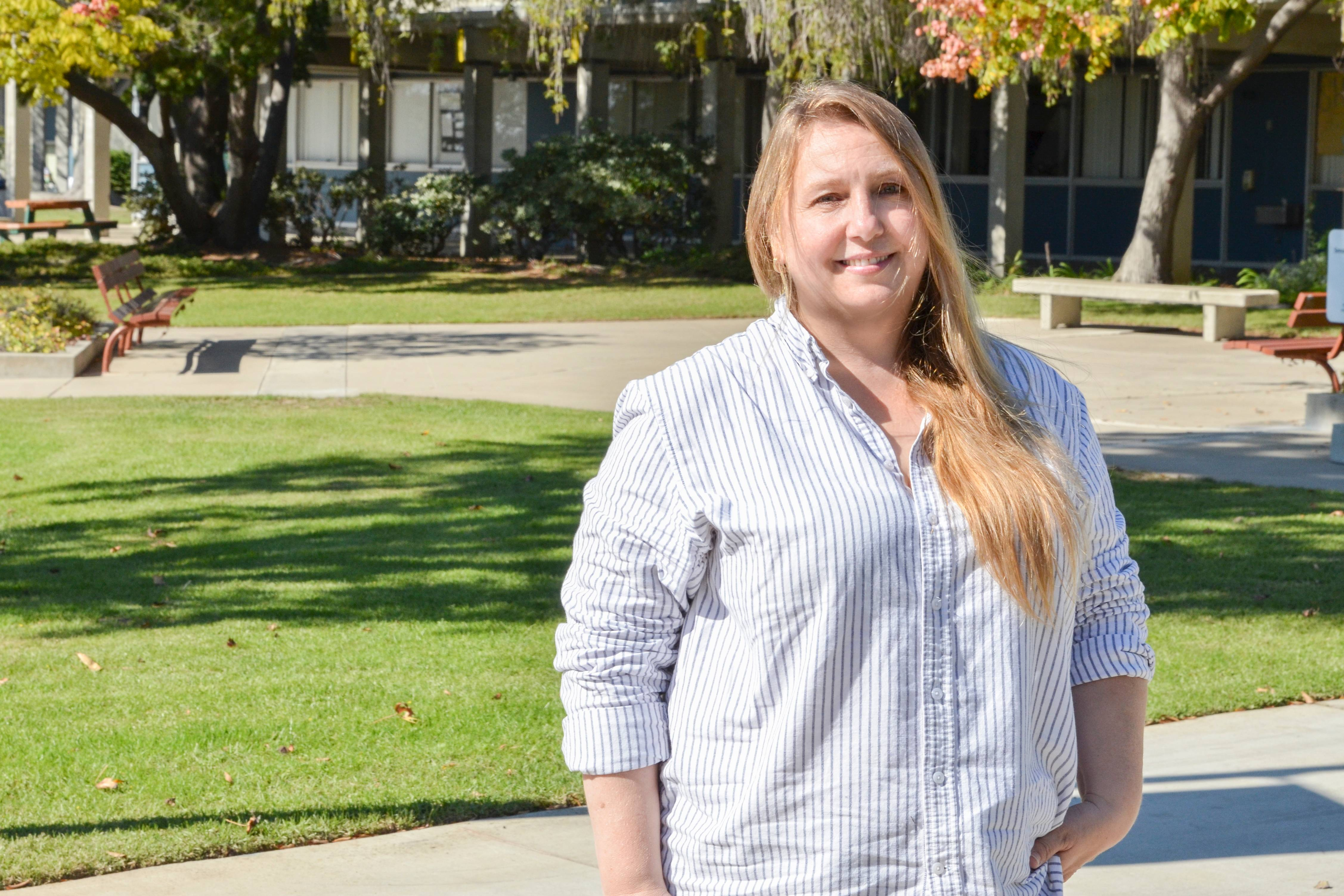 Following in the footsteps of her father and cousins, San Diego Mesa College student Janet Langrehr joined the U.S. Marine Corps in 1985, 29 years before stepping onto campus as a student.