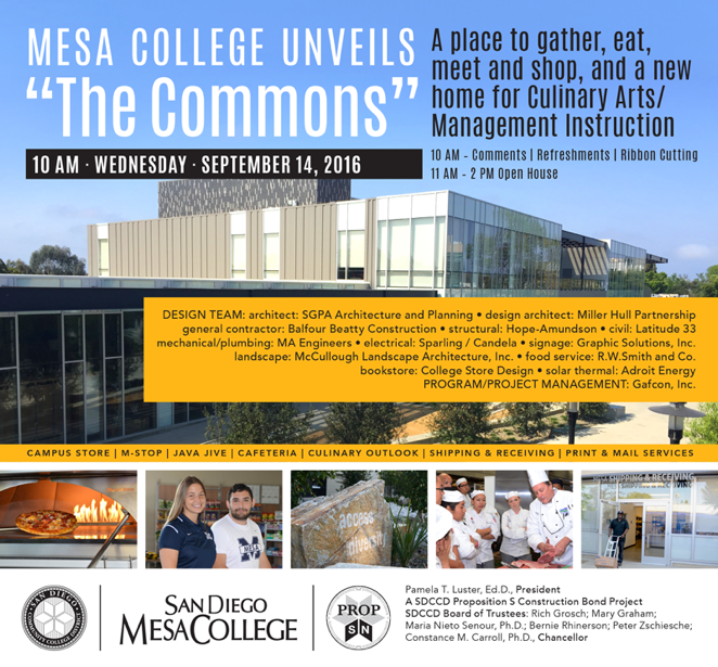 Dedication Of New Mesa Commons At San Diego College Serving As The Student Hub And Gateway To Campus Housing Two Cafeterias Bookstore