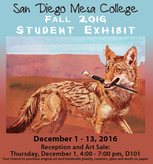 Featuring original art made by students, San Diego Mesa College's fall semester Student Art Gallery Exhibit will open with a reception and art sale on Thursday, Dec. 1 from 4 to 7 p.m. in room D-101.  This semester, there are 100 pieces in the student exhibit – three pieces are selected by the students from each studio art class. The various mediums in the show include digital media, sculpture, design, ceramics, drawing, design and jewelry, and the exhibit is installed, curated and lit by students in the museum studies course.