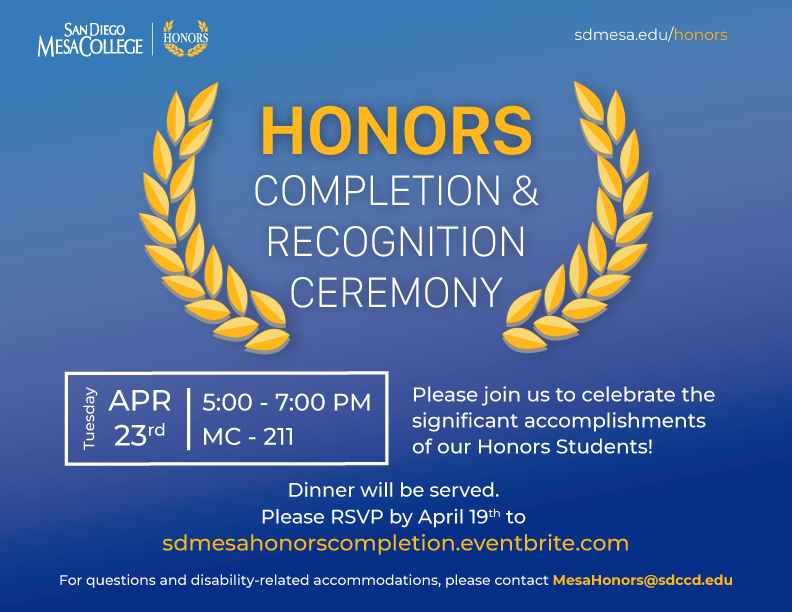 Honors Completion Ceremony 2019 Invite