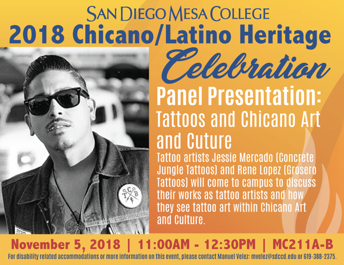 Tattoos and Chicano Art and Culture event fall 2018
