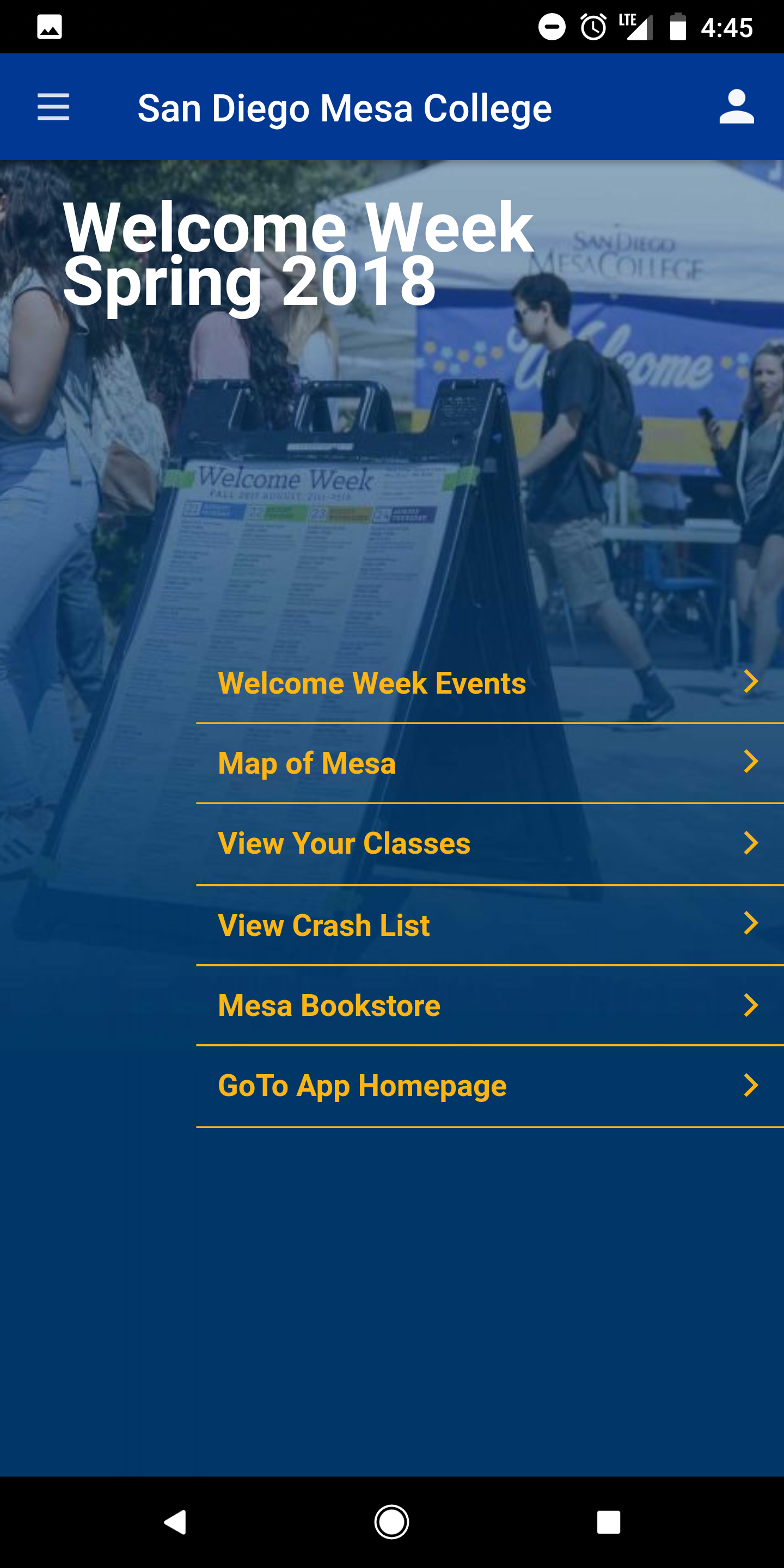 Welcome Week Screen