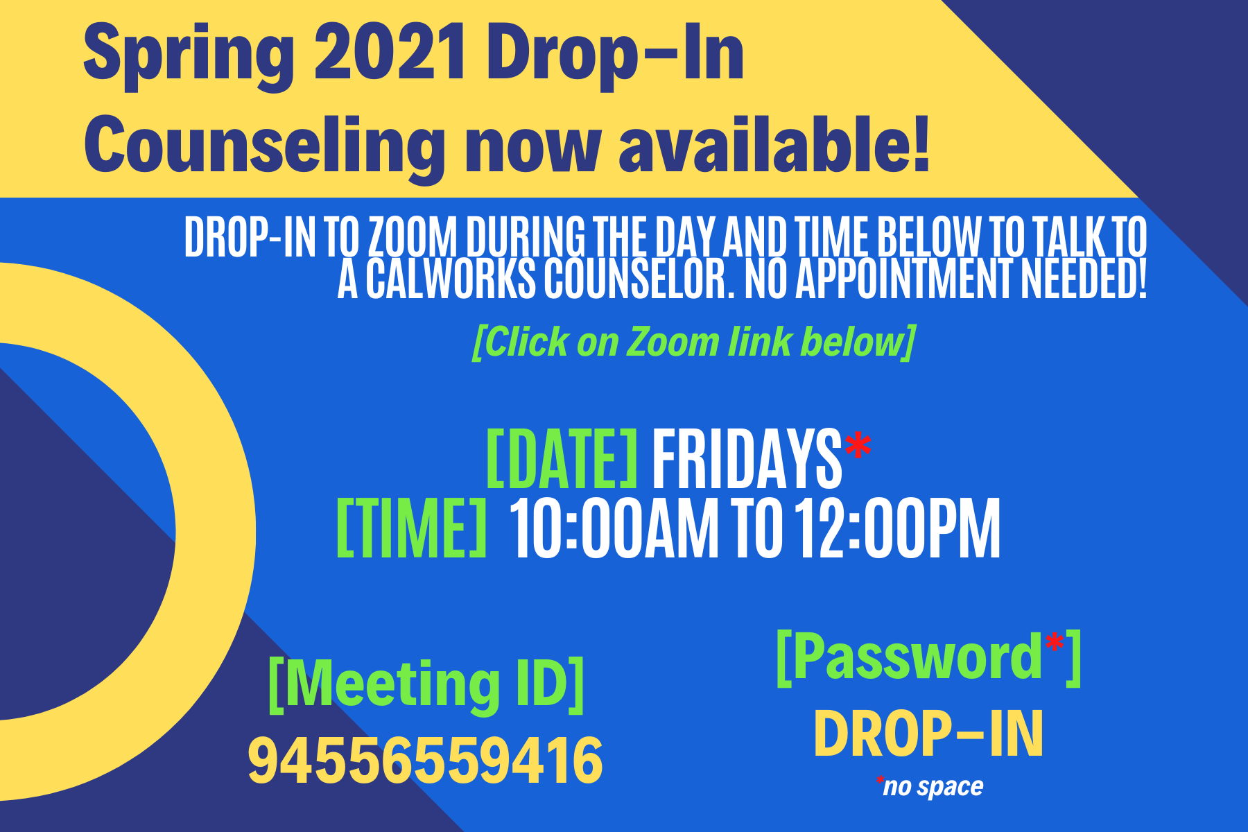 Spring 2021 Drop-In Counseling Image