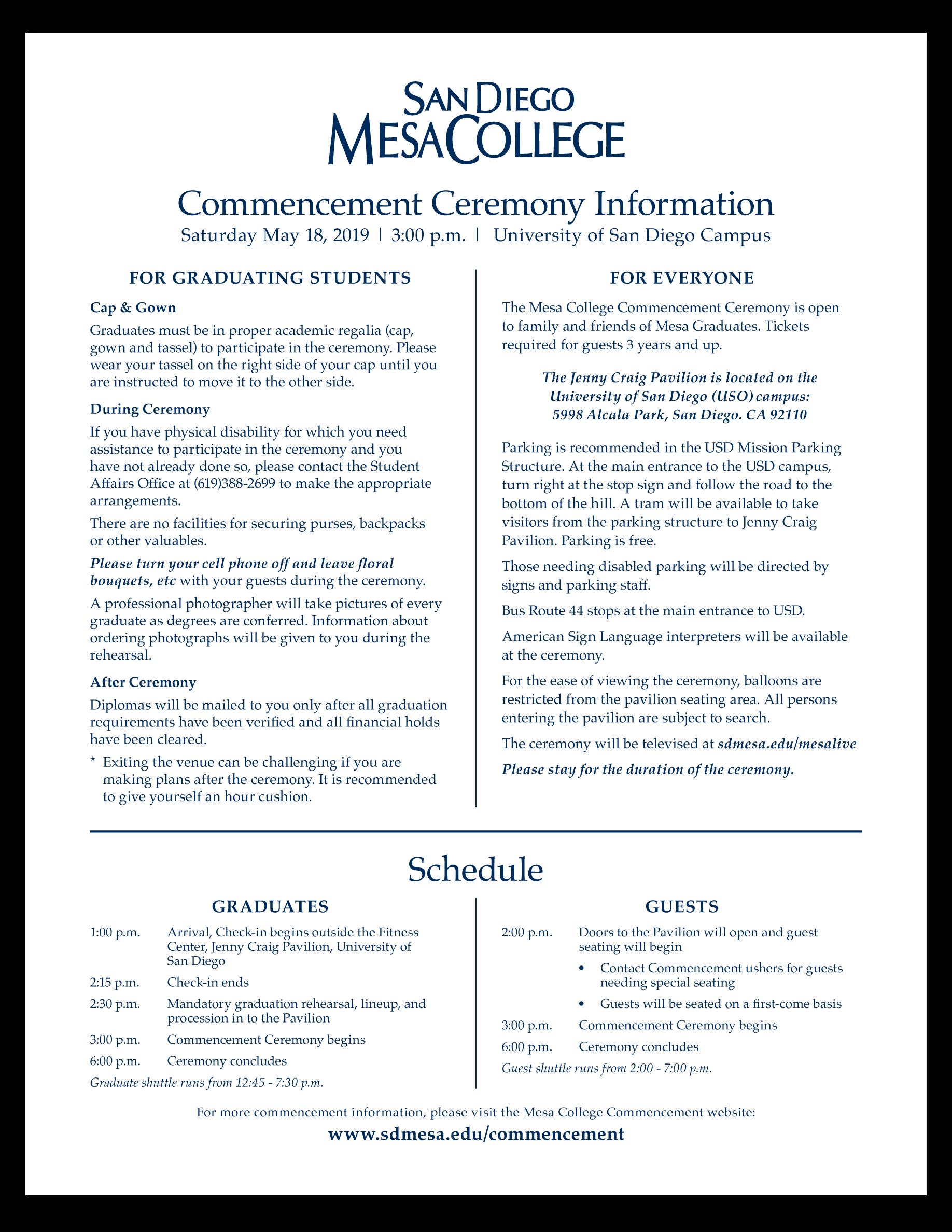 San Diego Mesa College Calendar 2020 San Diego Mesa College Commencement Ceremony