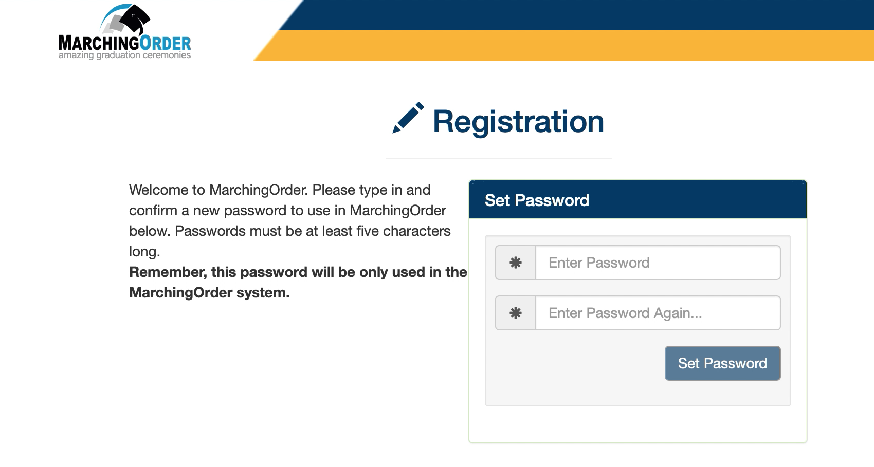 Marching Orders - Registration