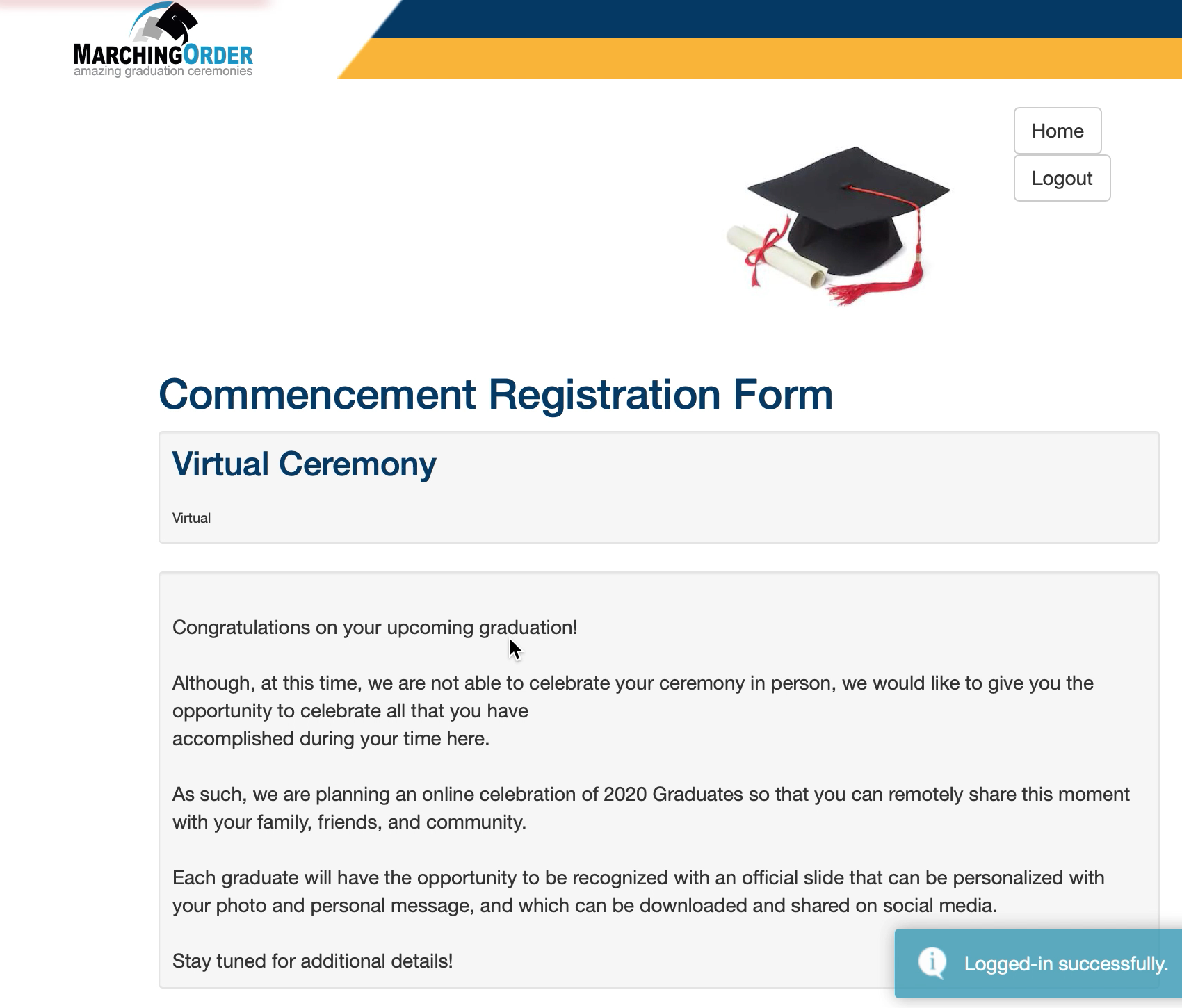 Marching Orders - Commencement Reg Form
