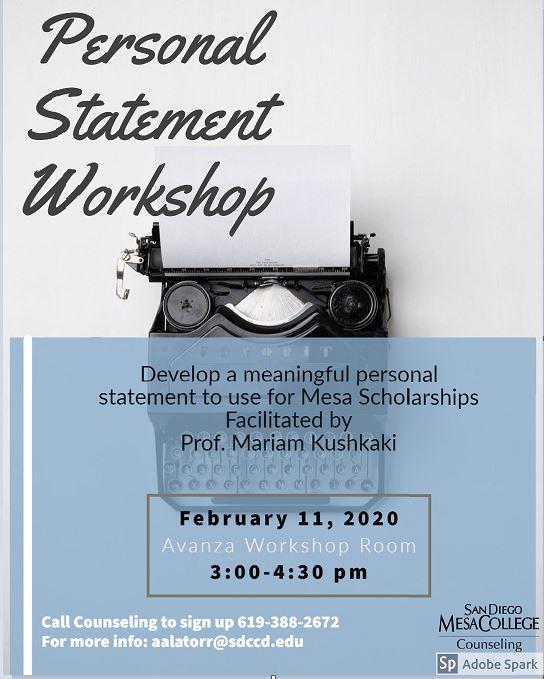 SP20 Personal Statement Workshop