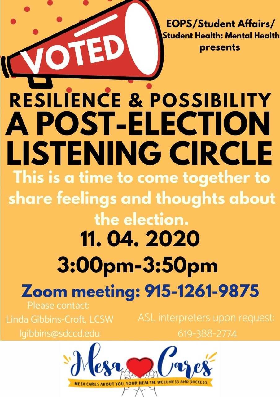post-election listening circle flyer